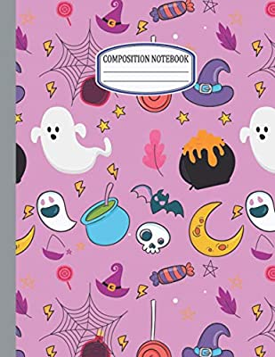 "Composition Notebook: Halloween Pink Wide Ruled Notebook For School-110 Pages (8.5""x11"") 