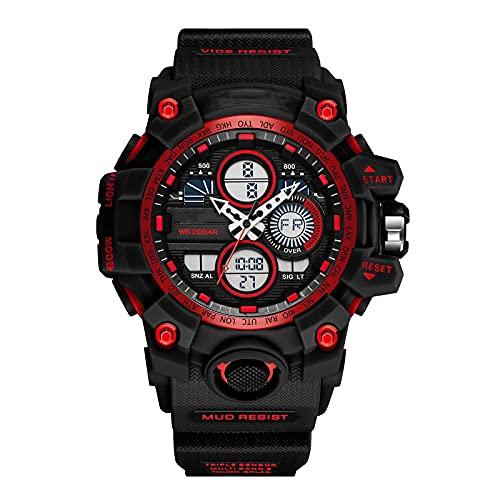 WNGJ Relojes Deportivos para Hombre Reloj de Reloj Digital Mensa DE Pantalla Dual Mensa Reloj DE Mujer Digital Digital LED 50M Reloj Digital a Prueba de Agua para Hombre Red
