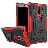 GARITANE Compatible con Lenovo Phab 2 Plus Funda Híbrida Rugged Armor Case Choque Dual Layer Bumper Carcasa con Kickstand para Lenovo Phab 2 Plus (Rojo)