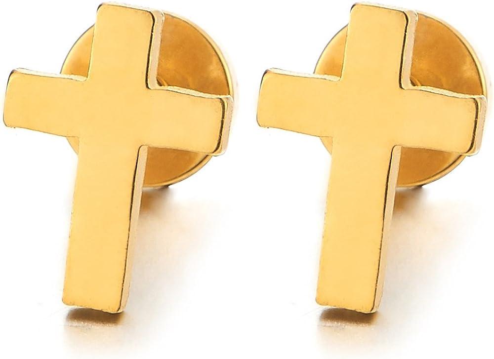 Pair Small Flat Gold Color Cross Stud Earrings for Men Women Stainless Steel, Screw Back