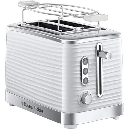 Russell Hobbs Toaster Grille Pain XL, Contrôle Brunissage, Décongéle, Réchauffe, Chauffe Viennoiserie - Blanc 24370-56 Inspire