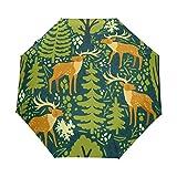 Green Tree - Paraguas compacto de viaje, diseño de alce de ciervo, resistente al viento, toldo reforzado, protección UV, mango ergonómico, apertura y cierre automático