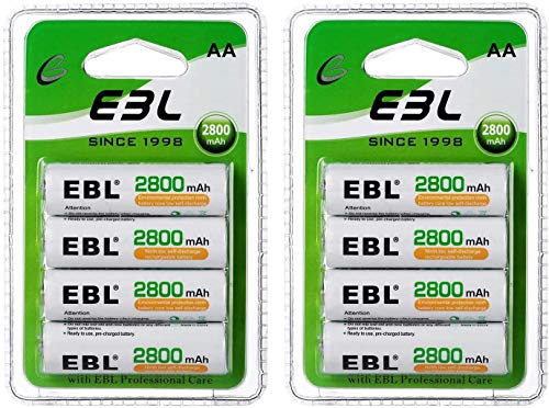 EBL Rechargeable AA Batteries 1.2V 2800mAh Precharged Ni-MH AA Battery New Retail Package, Pack of 8