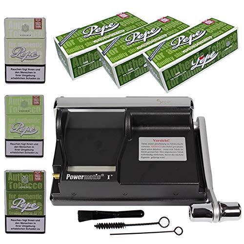 Powermatic 1 Plus Elite Edition SEPILO Zigarettenstopfmaschine I Zigarettenstopfer Zigarettenmaschine Zigarettenfertiger Pepe Filterhülsen Zigarettenhülsen 3X Blech Zigarettenbox