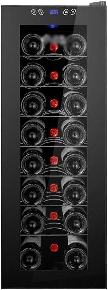 SHENXINCI Vinoteca De 8/12 Botellas, Temperatura Regulable Entre 11 Y 18 ℃, Iluminación Interior LED,55L De Gran Capacidad,Negro, 2 Estilos