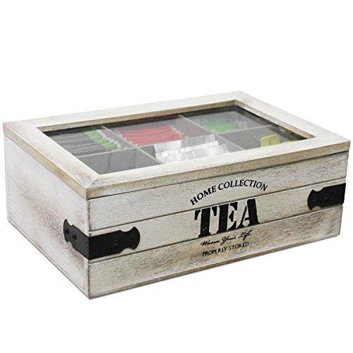 Aufbewahrungskiste Teebox mit Sichtfenster und 6 Fächer, Teekiste aus Holz MDF