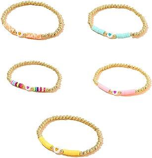 5 Pcs Lightweight Clay Beaded Bracelet Boho Rainbow African Vinyl Beaded Bracelets Stackable Summer Bracelets for Women Gi...