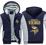 LLforever NFL Jersey Hoodie Minnesota Vikings, Plus Velvet Rugby Shirt T-Shirt Manches Longues Impression À Capuche Décontracté Et Confortable Gros Pull,C,2XL