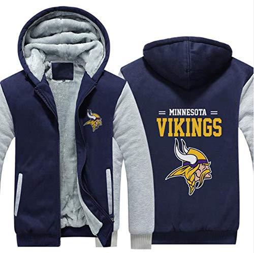 LLforever NFL JerseyHoodie Minnesota Vikings, Plus Samt-Rugby-Hemd-langärmlige T-Shirt-Druck Hemd mit Kapuze beiläufige Bequeme Thick Pullover,C,M