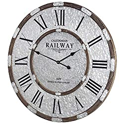 American Art Decor Caledonian Railway 1879 Central Station Glasgow Wood and Metal Oversized Vintage Wall Clock 31