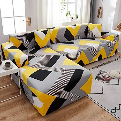 ASCV Funda de sofá elástica geométrica para Sala de Estar Funda de sofá de Esquina Funda de sofá en Forma de L Funda de sofá A6 1 Plaza