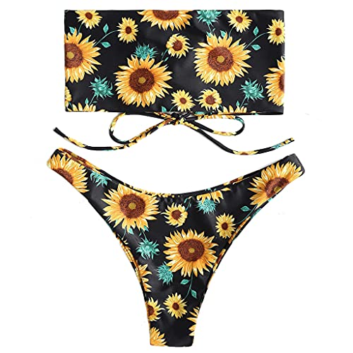 KunmniZ Conjunto de Bikini con Estampado Sexy de 2 Piezas para Mujer, sin Tirantes, con Cordones en la Espalda, Tanga Bandeau, Traje de baño Llamativo, ecológico, para Vacaciones, Tiras de, Playa