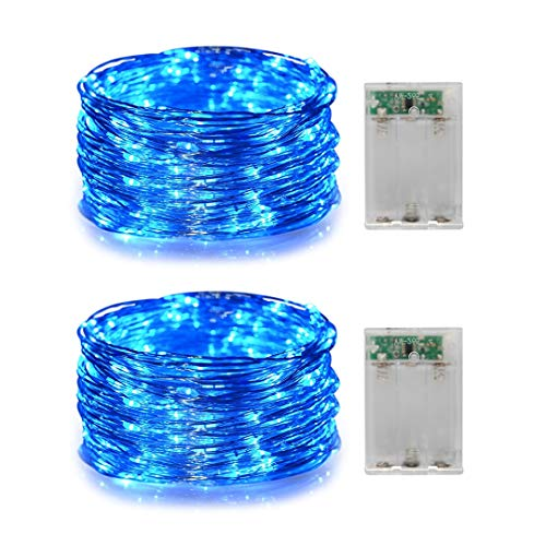 2 Pack Battery Operated Mini Led String Lights with Timer 6Hours on/18Hours Off,Fairy Lights for Wedding Parties,Centerpiece Decoration (Blue Color)