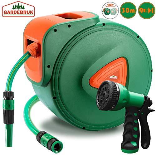 Gardebruk Schlauchtrommel 30+2m Schlauchaufroller Wasser Handbrause 9 Funktionen 180° Schwenkbar Aufwickelstopper Halterung