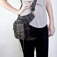Malayas Steampunk Bag,Waist Bag/Shoulder Bag/Vintage Leather Shoulder Bag/Leg Bag Gothic Unisex, Black #3