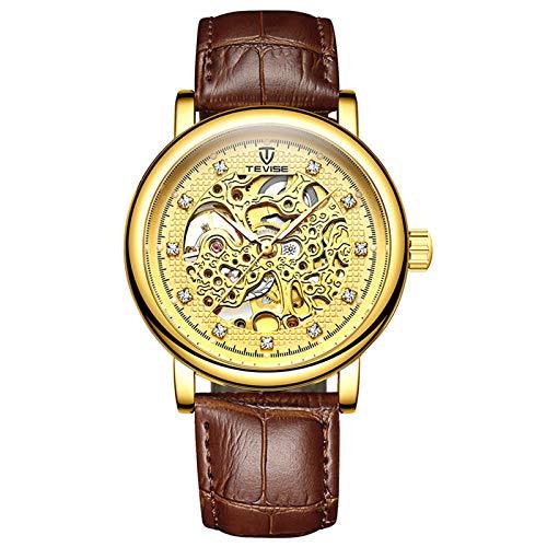 QZPM Hombre Automático Mecanico Relojes Luminoso Impermeable Analogico Militar Cronógrafo Moda Cuero Business Relojes,Oro