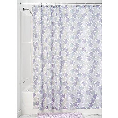 iDesign Everli Duschvorhang | 183,0 cm x 183,0 cm großer Badewannenvorhang | waschbarer Duschvorhang aus weichem Stoff | mit Blumen-Motiv | Polyester lavendel