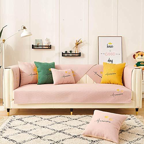 Homeen Sofá de Tres plazas Protector de Muebles Cubierta de sofá para sofá de Tela/sofá de Cuero,Bordado de Hojas de Arce,Funda de sofá Antideslizante,sofá universales Modernos-Rosa_90 * 70 cm