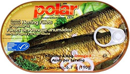 Polar Smoked Boneless Herring Fillets (Pack of 4) 6.7 oz Cans