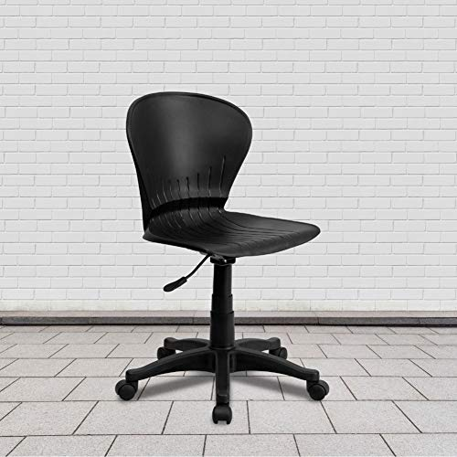 Flash Furniture Mid-Back Black Plastic Swivel Task Office Chair, BIFMA Certified