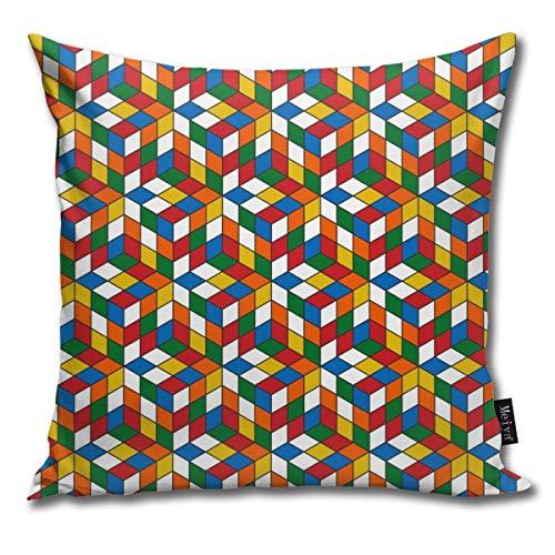Elsaone Cubo de Rubik Fundas de cojín Fundas de cojín Funda de Almohada para sofá Cama y Silla Decoración para el hogar 18 x 18 Pulgadas / 45 x 45 cm