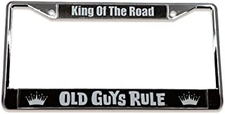 OLD GUYS RULE License Plate Frame   King of The Road   Custom Holder for Your Car   Chrome Metal Cover   Pre-Drilled Mounting Holes