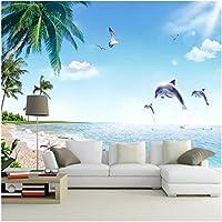 Xbwy 装飾壁画現代のジャンプイルカステレオ壁画海辺の風景自然の壁紙リビングルームの家の装飾-250X175Cm