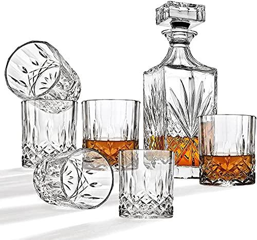 QJTZ Decantador de Whisky de 5 Piezas y Conjunto de Vidrio, Decantador de Cristal sin Plomo de 700 ml con 4pcs 310ml Gafas, Barras de Roca para Borbón 0816 (Color : B)