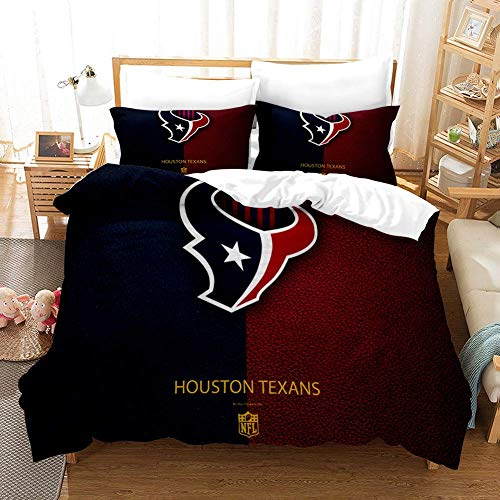 Duvet Cover Sets 3D NFL Printing Child Adult Bedding Set 100% Polyester Gift Duvet Cover 3 Pieces With 2 Pillowcases Houston Texans-AU King96'*83'(245 * 210cm)