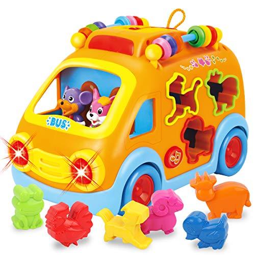 REMOKING Auto Spielzeug Kinder, Elektronisches Musikbus-Spielzeugauto, Motorikspielzeug Geschenke für Mädchen, Jungen und Kleinkinder