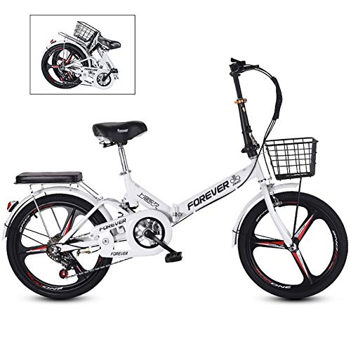MSM 20 Inch Portable Bike,Ultra Light City Riding with Basket,Folding Commuter City Bike,Women's Students City Riding Mountain Cycling for Travel Go Working White - 3 Spoke