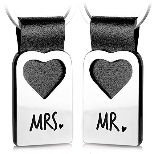 FABACH Herz Schlüsselanhänger mit Gravur aus Leder - Geschenke für Hochzeit, Heirat, Ehe - Hochzeitsgeschenke für Brautpaar Geschenk Ehepaar - Mr. Mrs.