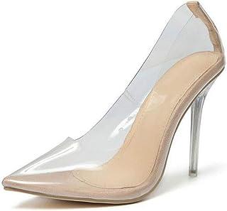 CHUANGFU Talons Hauts/Talons Hauts pour Femmes/Europe et Amérique Sexy Chaussures Simples Transparentes/Escarpins à Bout P...