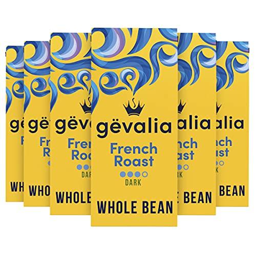 Gevalia French Roast Dark Roast Whole Bean Coffee (12 oz Bag, Pack of 6)