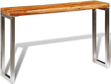 vidaXL Table Console en Bois sheesham Solide avec Pieds en Acier Brun pour entrée