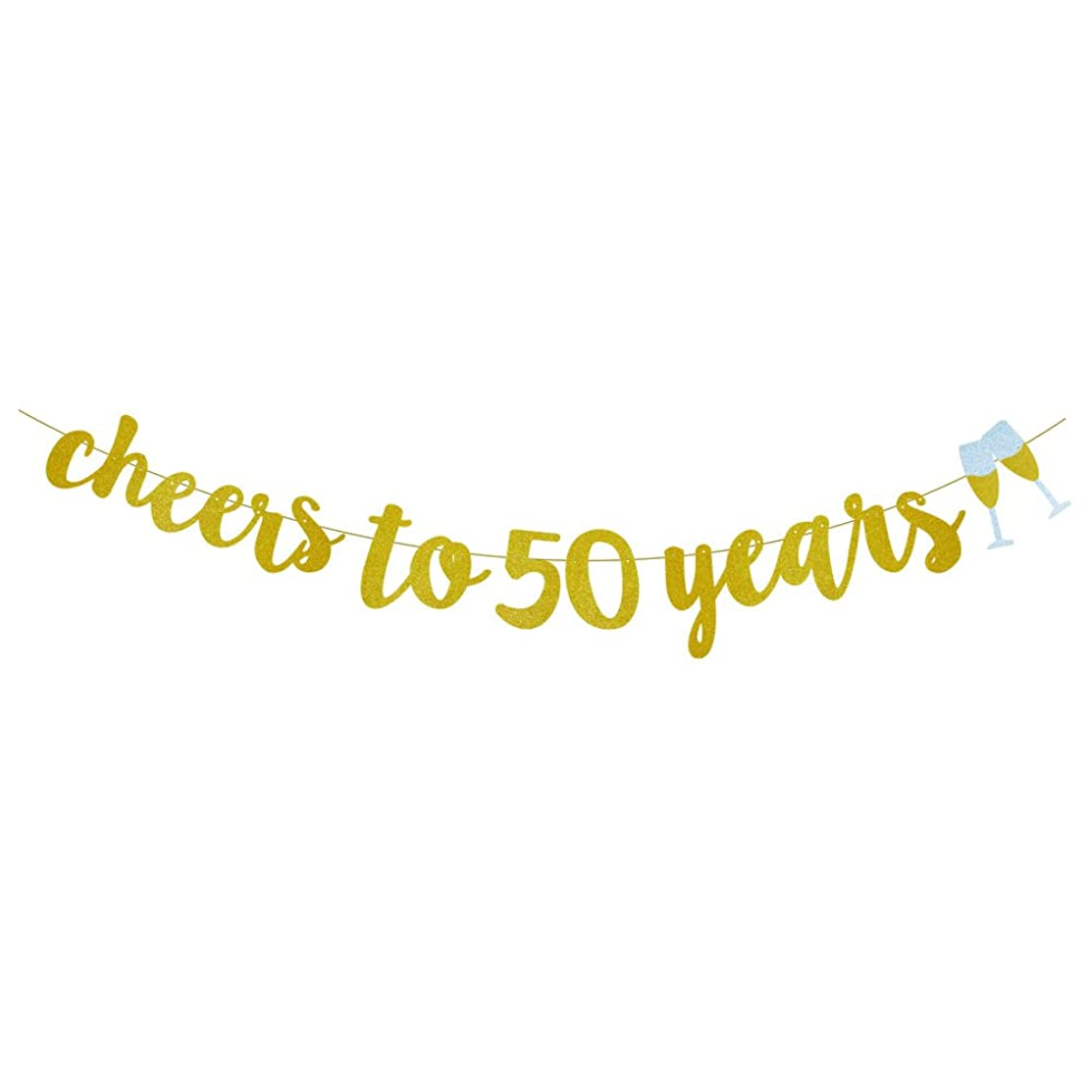 GOER Gold Glitter cheers to 50 years Champagne Glasses Banner for 50th Birthday Party Decorations