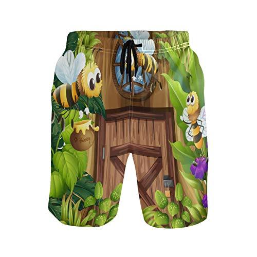 Heren zwemmen Trunks Leuke Cartoon Bijen met Honing in De Jungle Palm Bloem Quick Dry Board Shorts met Trekkoord en Zakken