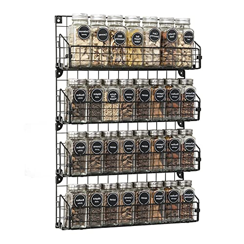 Spice Racks Organizer Wall Mounted 4-Tier Stackable Hanging Spice Rack,Great for Kitchen and Pantry Storing Spices, Household Items,Bathroom and More,Black