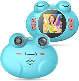 BengUp Kids Camera 1.54 Inch Digital Camera Gifts Mini Camera for 4-8 Year Old Boys/Girls with Lanyard Anti-Drop Cartoon Frog Children Camera Camcorders (16GB Memory Card Included) (Blue)