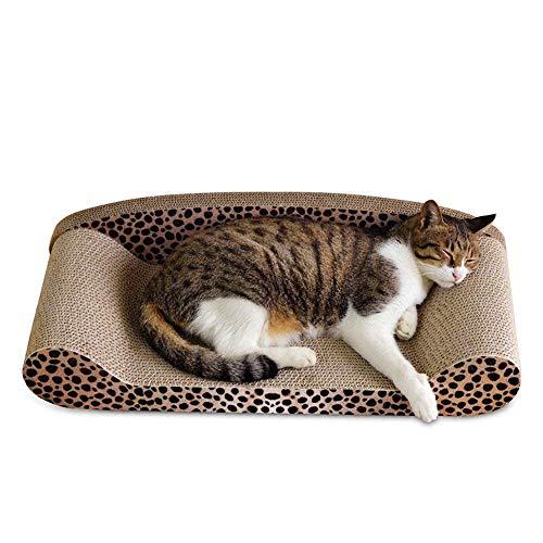 Baffect Katzen Kratzmatte,Kratzbrett für Katzen mit Katzenminze Kratzbaum Kratzmöbel Kratzsofa Cat Scratching Karton Katzenspielzeug (Leopardenprint)