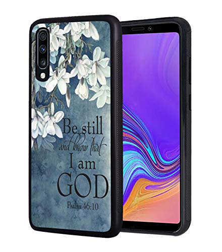 Galaxy A20 Case, Galaxy A30 Case, Christian Quotes Bible Verse Psalm 46:10 Design Slim Impact Resistant Shock-Absorption Rubber Protective Case Cover for Samsung Galaxy A20 / A30 (2019)