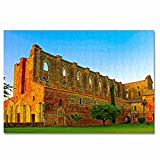 Italia Toscana Abbazia San Galgano Rompecabezas para Adultos, 300 Piezas, Rompecabezas de Madera para niños, Regalo de Viaje, Recuerdo, 16.5 × 12 Pulgadas