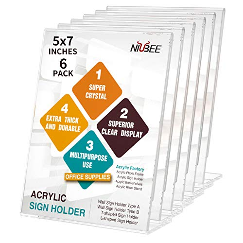 NIUBEE 6Pack Slant Back Acrylic Sign Holder 5x7 inches, Clear Vertical Picture Frames Frames, Desktop Flyer Holder Document Holder Paper Display Stand