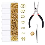 EuTengHao 1504Pcs Gold Open Jump Ring and Lobster Clasps Kit Jewelry Repair Tools