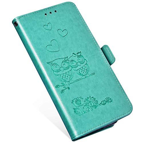 QPOLLY Kompatibel mit OnePlus 6 Hülle Klappbar Ledertasche,Premium PU Leder Handytasche Brieftasche-Stil Magnet Geldbörse Handyhülle für OnePlus 6 mit Kartenhalter Standfunktion,Vert
