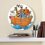 GAVA Dormitorio relojes de pared de dibujos animados barco animal PVC reloj de pared diseño moderno decoración del hogar dormitorio silencioso Oclock reloj pared para sala de estar