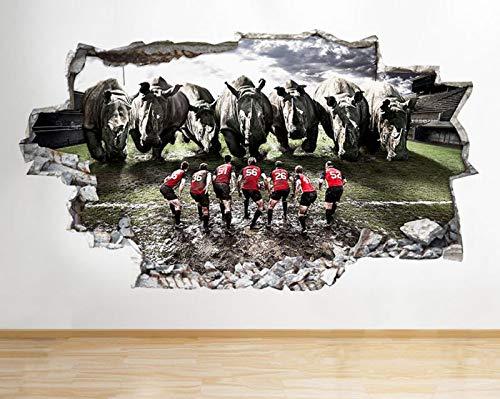 C005 Rhino Animal Rugby Sport Cool Smashed Wall Sticker 3D Art Aufkleber Vinyl Room