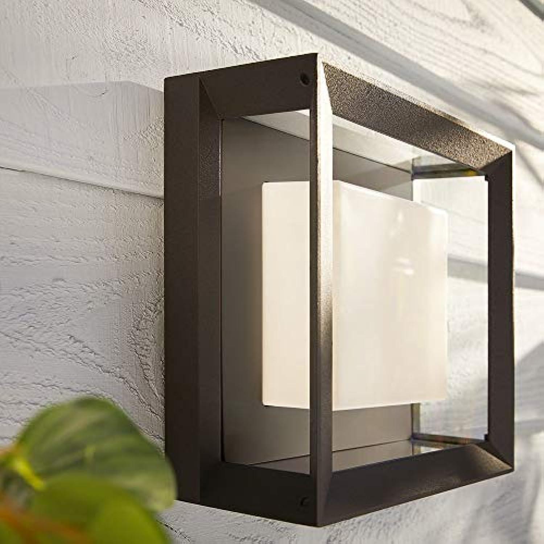 Philips Hue Weiß & Farbe Ambiance Econic Wandleuchte Deckenleuchte, schwarz, quadratisch  LED-Wandlampe für den Aussenbereich, dimmbar, bis zu 16 Millionen Farben, steuerbar via App