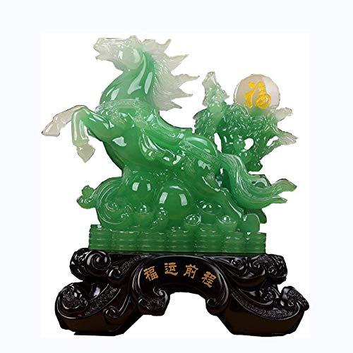 QULONG Adornos de Resina Riqueza Estatua de Caballo Grande Feng Shui símbolo de éxito Escultura decoración Regalo de felicitación de inauguración de la casa