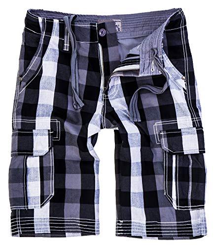 Rock Creek Herren Karoshorts Bermuda Hose CAGO-Shorts Sommer Hose kurz Shorts Herrenshorts H-158 M Grey11